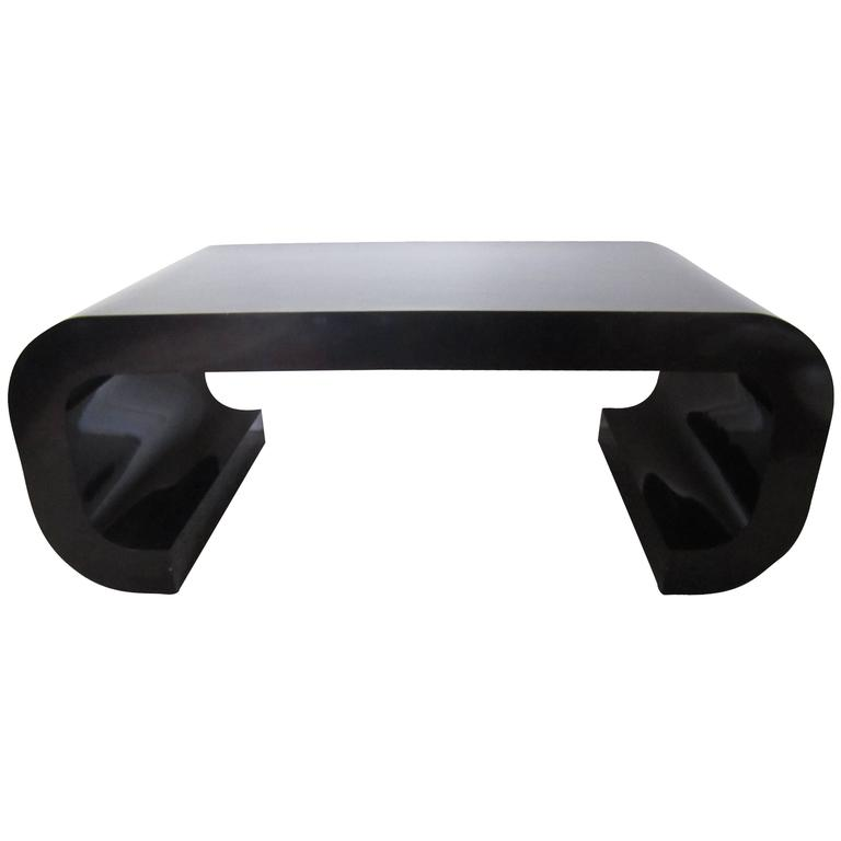 Vintage Modern Black Scroll Coffee Table In The Style Of Karl Springer 1970s For Sale At 1stdibs