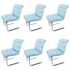 Chrome Set of Six Dining Chairs Side Vintage Cantilever by Preview Furniture