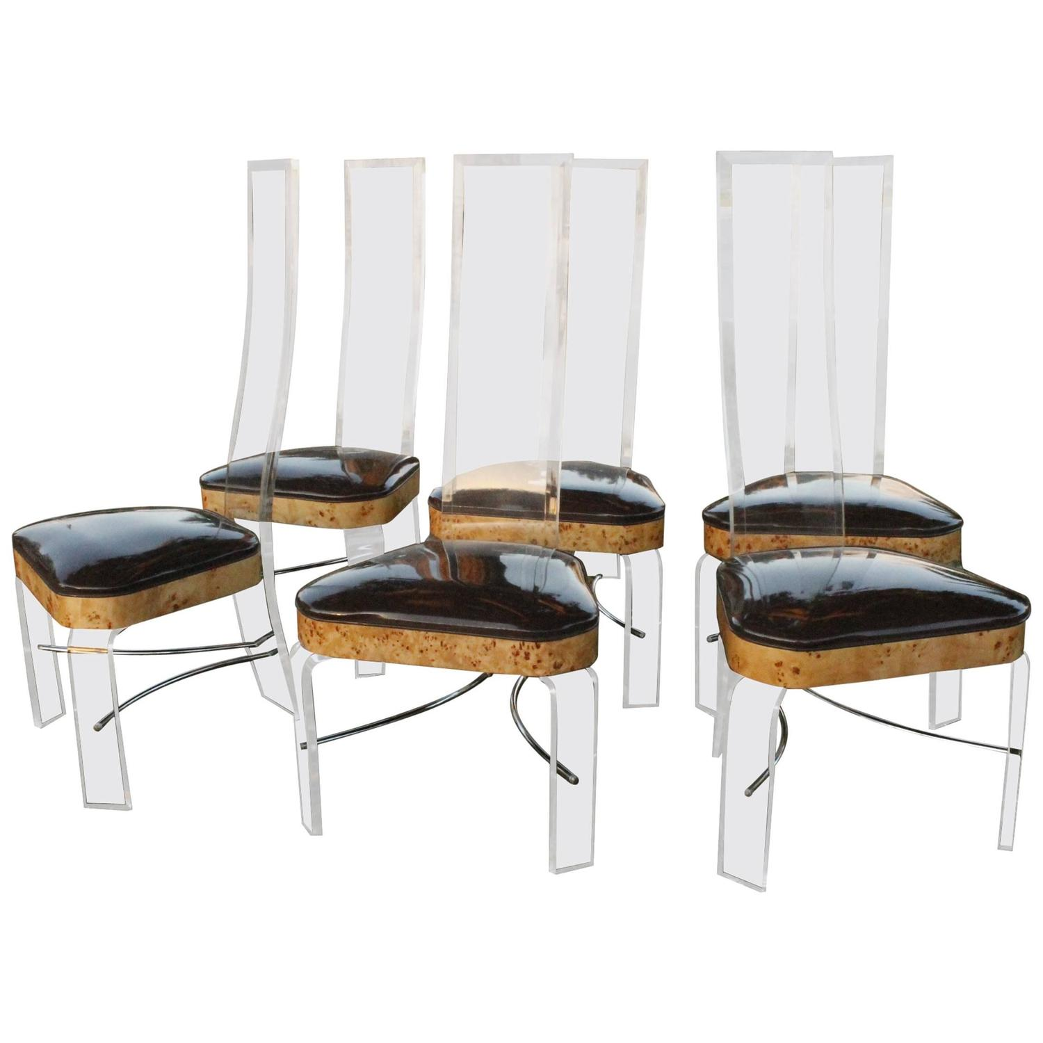 six burled elm burl wood lucite dining chairs high back hill mfg