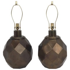 Pair Goemetric Faceted Sphere Lamps in Patinated Bronze Finish