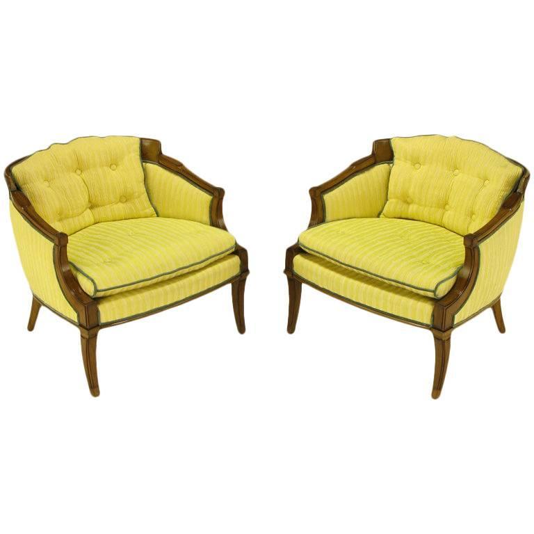 Pair of Oxford Ltd Saffron Striped Barrel Lounge Chairs For Sale