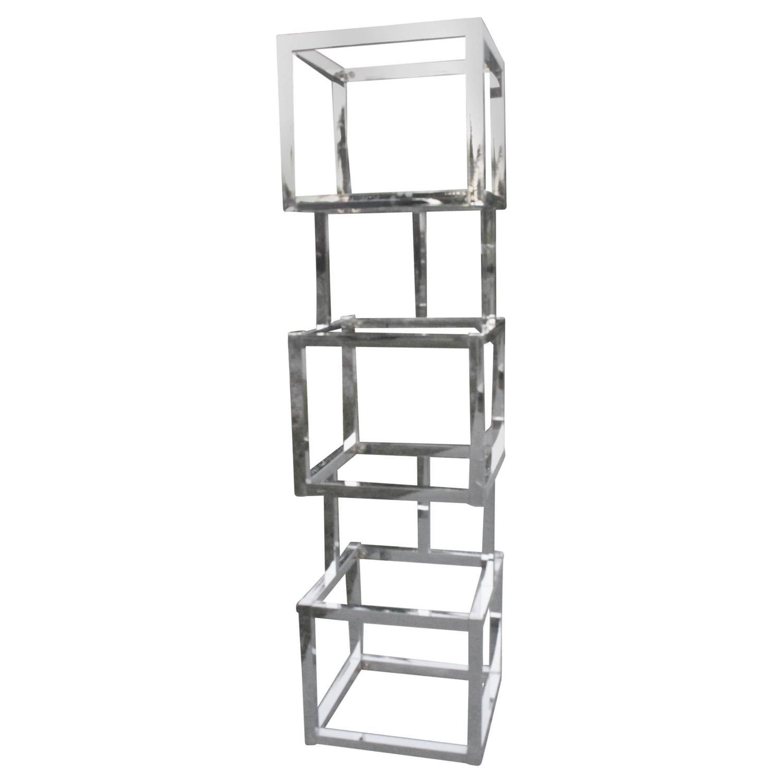 Milo baughman cube chrome tager shelves geometric square shelf at 1stdibs - Etagere cube modulable ...