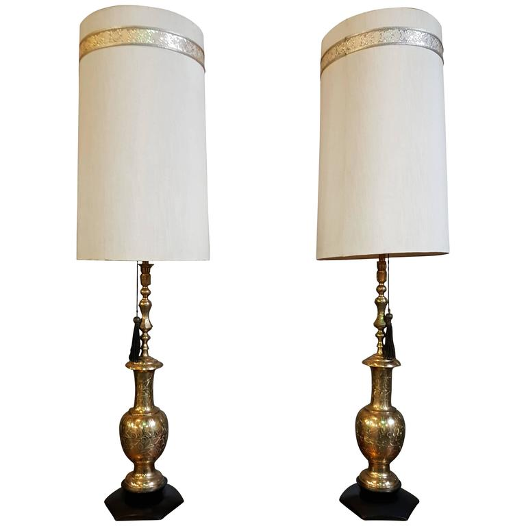 Large Scale Moroccan Style Brass Table Lamps For