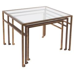 Maison Ramsay, Gigogne Coffee Table, Gilded Iron and Glass, circa 1970, France