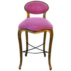 Louis XV Style Pink Barstool in Velvet with Golden Frame