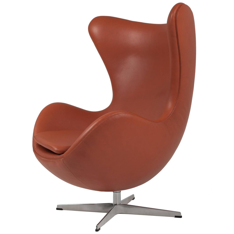 genuine arne jacobsen egg chair in tanned aniline leather at 1stdibs. Black Bedroom Furniture Sets. Home Design Ideas