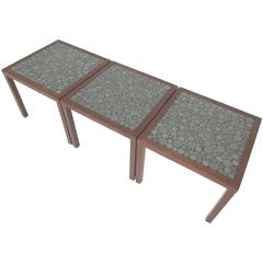 Set of Three Tile Top Side Tables by Gordon Martz for Marshall Studios