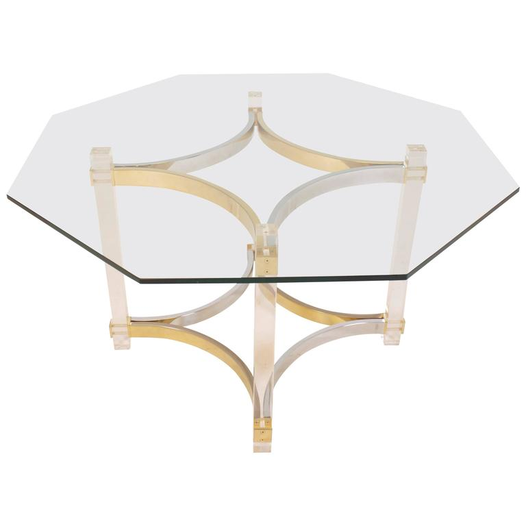 Lucite, Brass and Chrome Dining Table by Alessandro Albrizzi