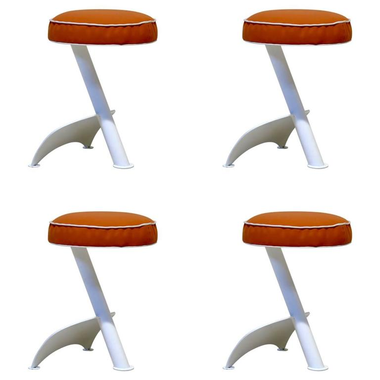 Set of Four Cubist Style Stools, France, circa 1960s