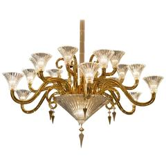 Neoclassical French Chandelier by Mathias with Baccarat Crystals, Gold Plating