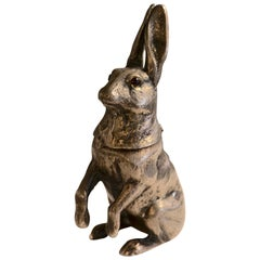 XX Century Silver Plated Hare Inkwell