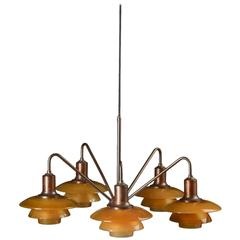 Poul Henningsen 'Emperor' Chandelier with Amber Colored Glass, 1930s
