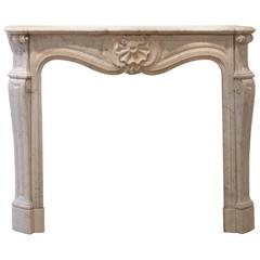 19th Century Louis XV Marble Fireplace Mantle in White, Gray