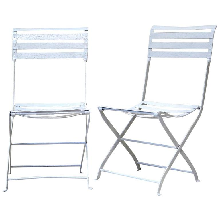 Pair of Folding Iron Garden Chairs, France, circa 1920s