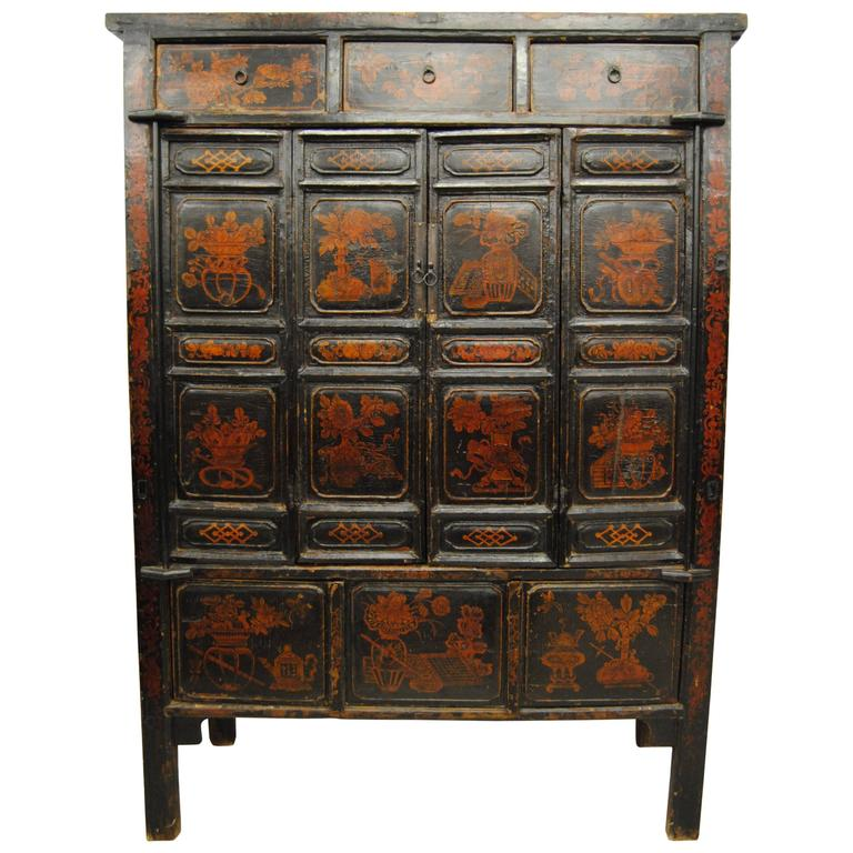 Antique Large Chinese Armoire With Original Lacquer