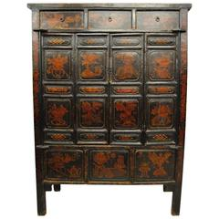 Antique Large Chinese Armoire with Original Lacquer, Shanxi Province, Early 1800