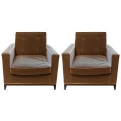 21st Century Modern Brown  Minx Armchairs by Amy Somerville in Velvet with Brass