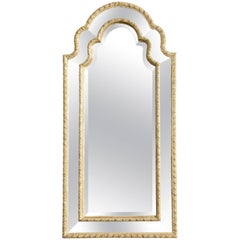 Queen Anne Arched Giltwood Border Glass Mirror