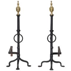 Large Pair of Federal Style Andirons