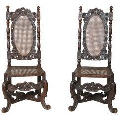 Rare Pair of James II Walnut Hall Chairs