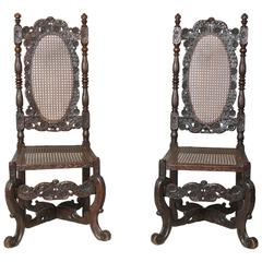 Rare Pair of James II Walnut Chairs
