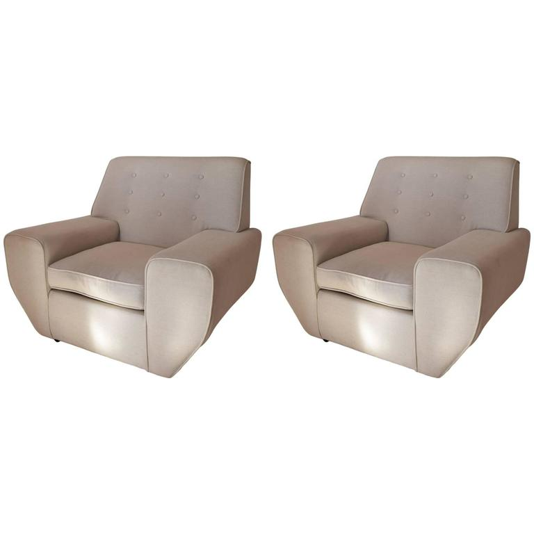 Pair of Geometric Cream Linen Upholstered Mid Century Lounge Chairs.