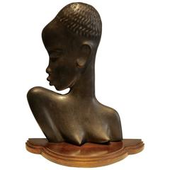 Hagenauer Style, Vienna, African Woman, 1930s, Patinated Bronze