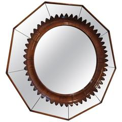 Walnut Ornated Mirror by Fratelli Marelli, Italy, circa 1940-1950