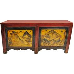 Antique Western Chinese Cabinet with All Original Artwork