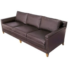 Heritage Furniture Dark Chocolate Leather Three-Seat Sofa, circa 1960s