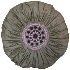 Round Throw Pillow in Pleated Sage (green) Silk around embroidered  Medallion