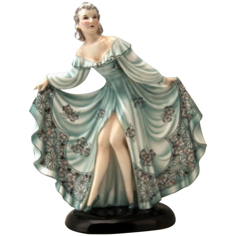 Goldscheider Vienna Lady Dancer Jolanthe Nicest Dress by Stefan Dakon circa 1939