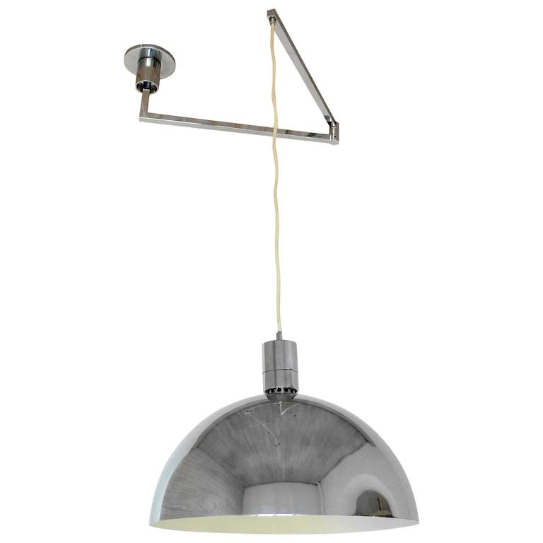 Chromed Swing Arm Ceiling Lamp By Franco Albini For Sirrah Italy 1969