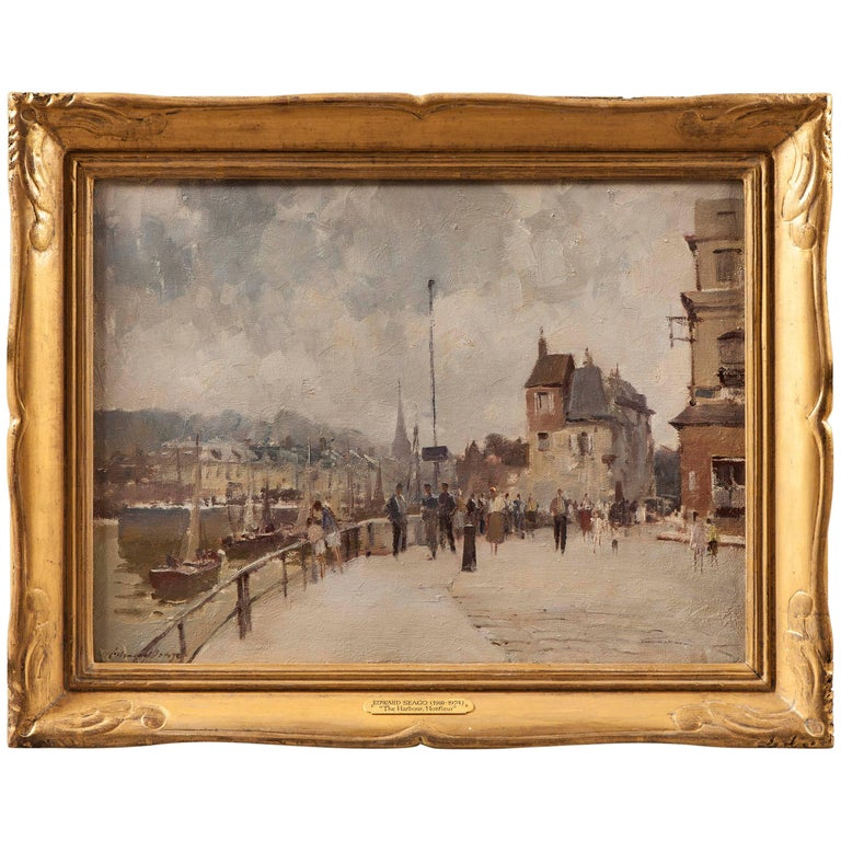 20th Century Landscape Painting of 'The Harbour at Hornfleur' Edward Seago For Sale