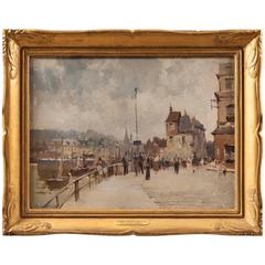 20th Century Landscape Painting of 'The Harbour at Hornfleur' Edward Seago
