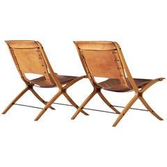 Hvidt & Mølgaard Pair of X-Chairs in Cognac Leather