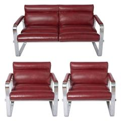Eero Aarnio metal and leather three piece lounge suite, Finland circa 1970