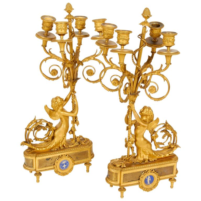 Louis XVI Style French Ormolu Bronze Four-Light Candelabra Pair Alfred Beurdeley 1