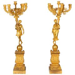 Monumental Pair of French Empire Ormolu Bronze Candelabra 19th Century