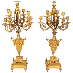 Pair of French Louis XVI Style Ormolu Gilt Bronze Candelabra with Winged Cheurbs