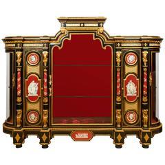 "Important Napoleon III Ormolu-Mounted KPM Porcelain ""Exhibition"" Vitrine Cabinet"