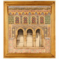Spanish Plaster Wall Plaque Depicting the Alhambra Moorish Islamic Taste