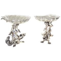 Fine Pair of Silvered Bronze & Glass Tazza English Sheffield Henry Wilkinson Co