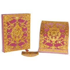 American Gilt Bronze Ormolu-Mounted Pink Velvet Desk Set E. F. Caldwell & Co.