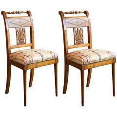 Pair of Biedermeier Fruitwood Side Chairs, circa 1850