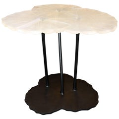 Table Crystal Three Waterlily Leaves on Iron Feet Base Made in 2016