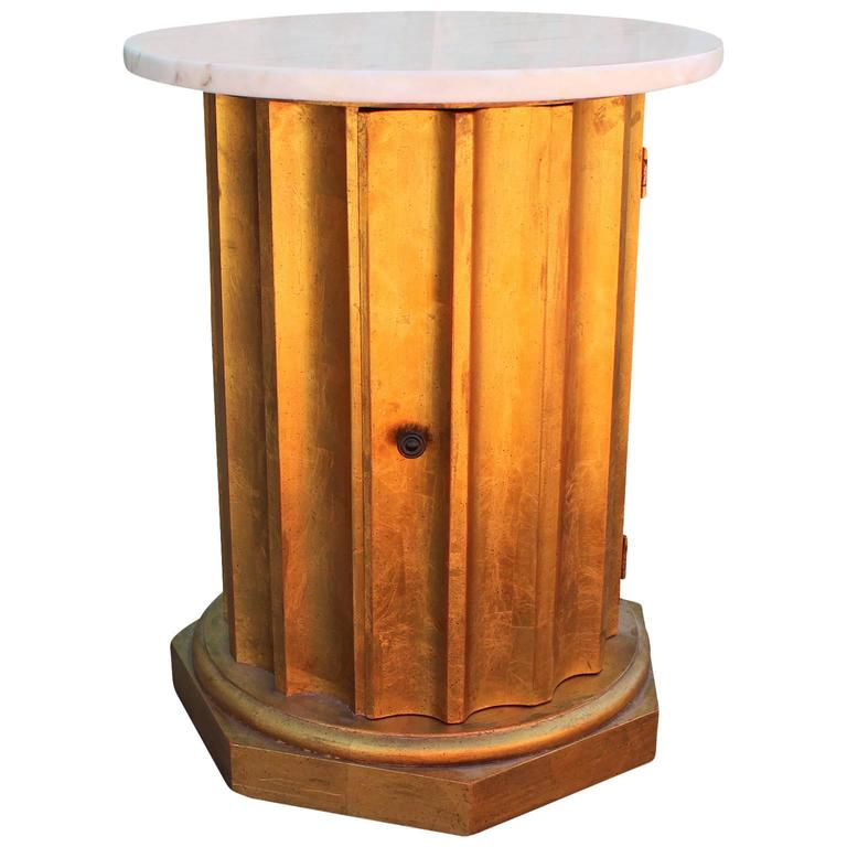 Modern Scalloped Gold Leaf and White Marble Column Side Table / Cabinet