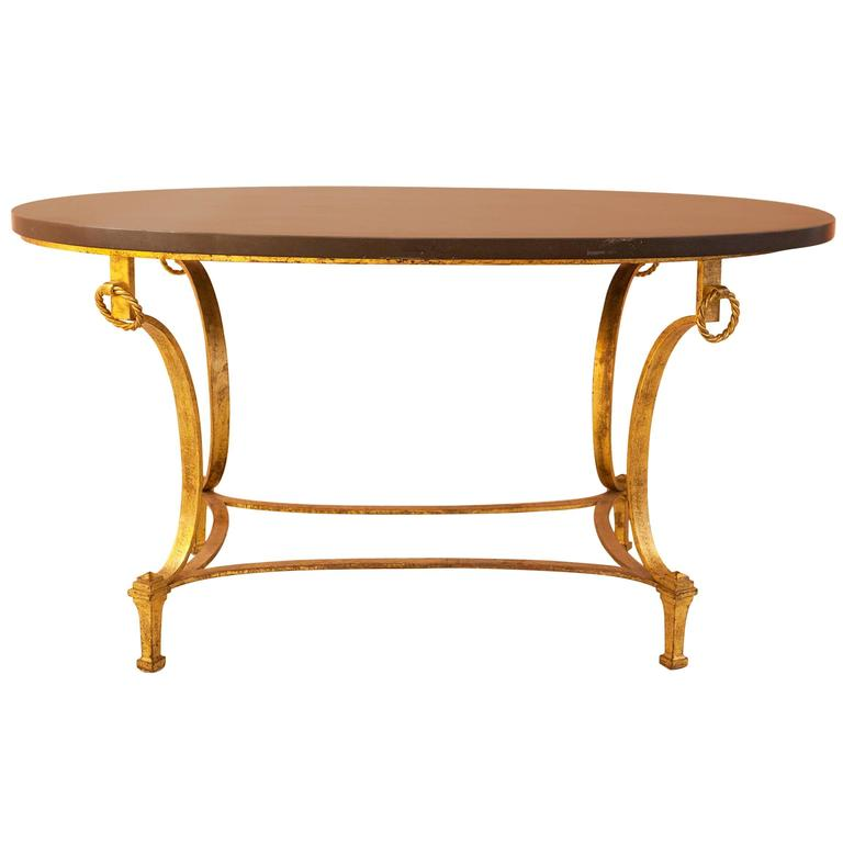 French Gold Coffee Table: 0Neoclassical Oval French Coffee Table By Maison Ramsey In