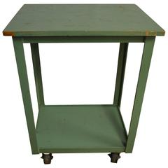 Industrial Cart on Wheels of Painted Green Wood and Steel Frame