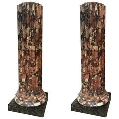 Beautiful Pair of Marble and Stucco Columns, Italy, 18th Century